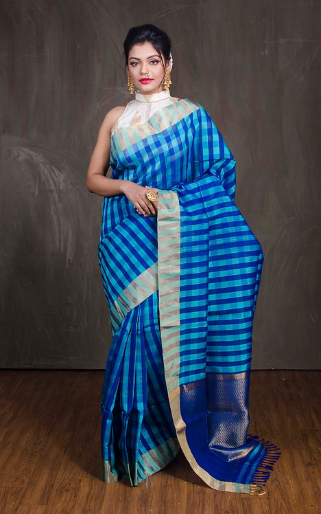 Kora Silk Checks Banarasi Saree in Blue and Gold