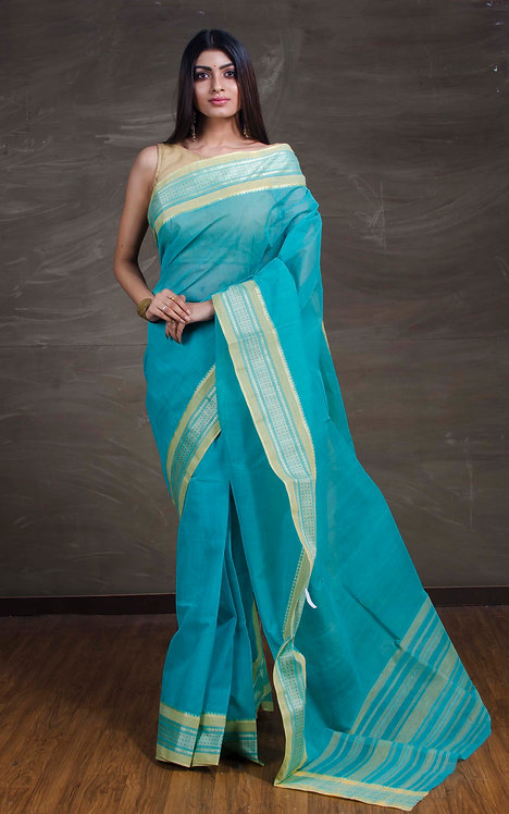 Bengal Handloom Cotton Saree in Sky Blue and Silver