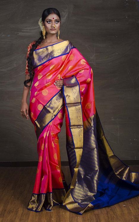 Pure Kanjivaram Saree in Pink and Blue