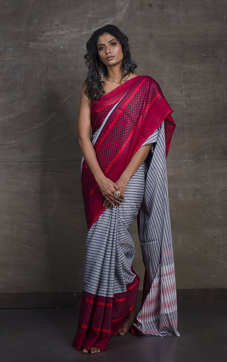 Bengal Handloom Designer Soft Cotton Saree in Gray, Red and Black
