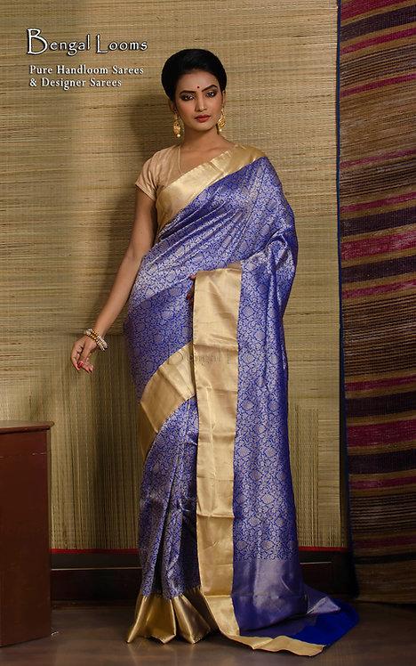 Brocade Silk Banarasi Saree in Royal Blue and Gold