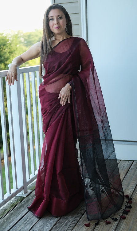 Soft Cotton Saree in Maroon and Black