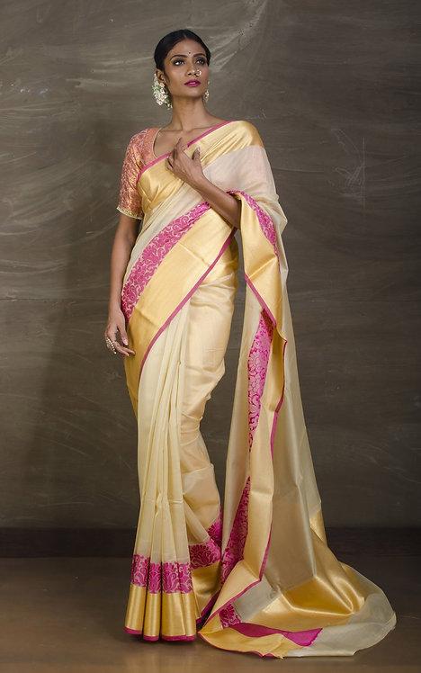 Pure Resham Cotton Banarasi Saree in Butter Cream, Magenta and Gold