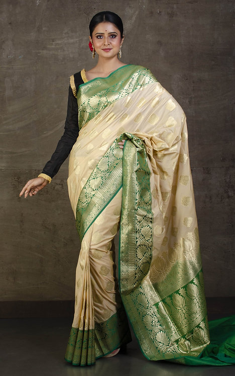 Semi Silk Banarasi Saree in Cream and Green