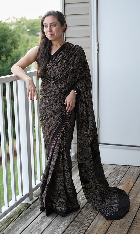 Ajrakh Saree on Pure Modal Silk with Natural Dye in Black