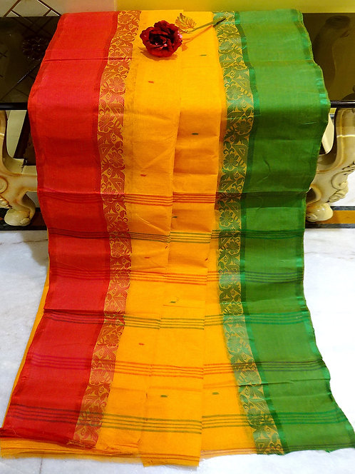 Bengal Handloom Cotton Saree with Starch in Yellow, Green and Red