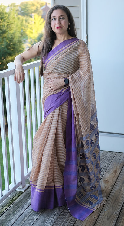 Bengal Handloom Soft Cotton Saree in Biscuit Brown and Purple