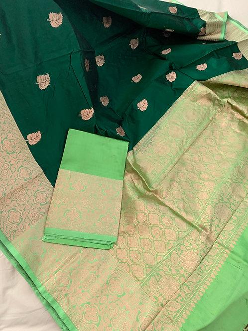 Pure Banarasi Katan Silk Saree in Dark Forest Green and Sea Green