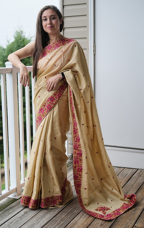 Semi Tussar Kashmiri Embroidery Saree in Beige and Pink