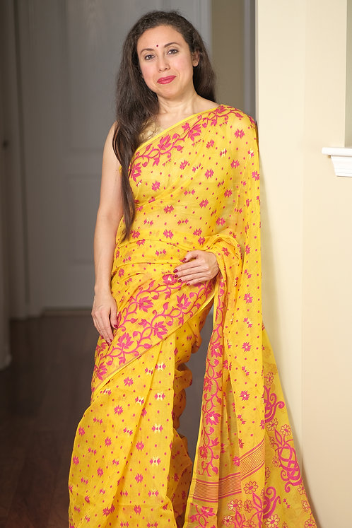 Minakari Jamdani Saree with Starch in Yellow, Rani and Gold
