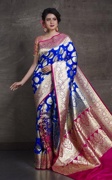 Art Silk Patli Pallu Traditional Banarasi Saree in Cobalt Blue and Hot Pink
