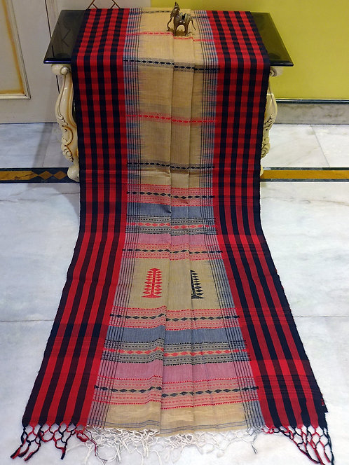 Checks Border Soft Cotton Kalakshetra Saree in Beige, Red and Black