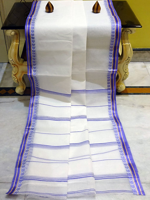 Bengal Handloom Cotton Saree with Starch in White and Violet