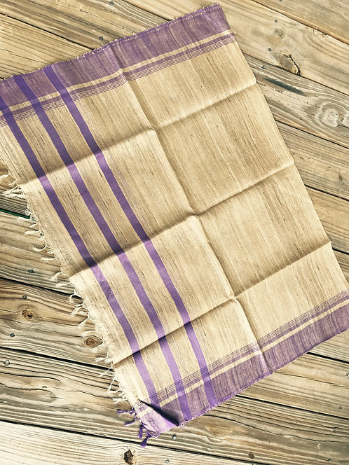 Woven Tussar Dupatta in Beige and Purple