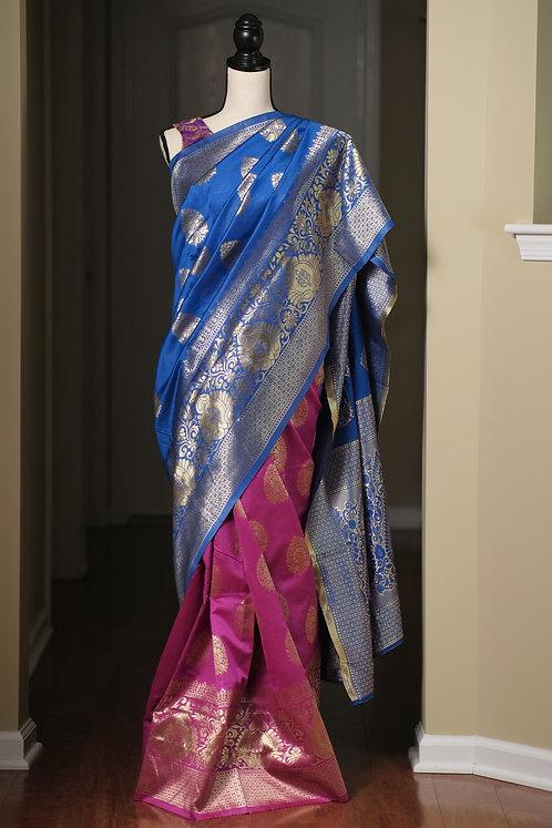 Art Silk Banarasi Saree in Blue, Hot Pink and Gold