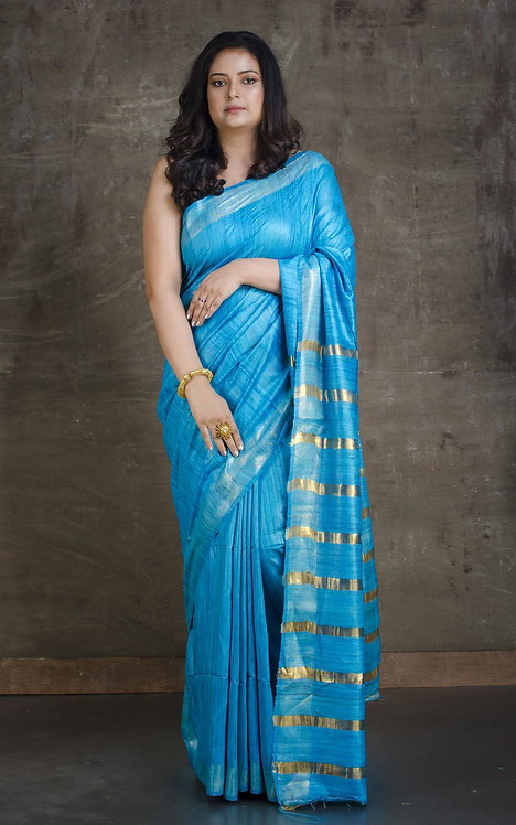 Pure Gicha Tussar Saree in Blue and Gold