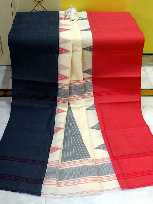 Bengal Handloom Cotton Saree with Starch in Off White, Matte Red and Black