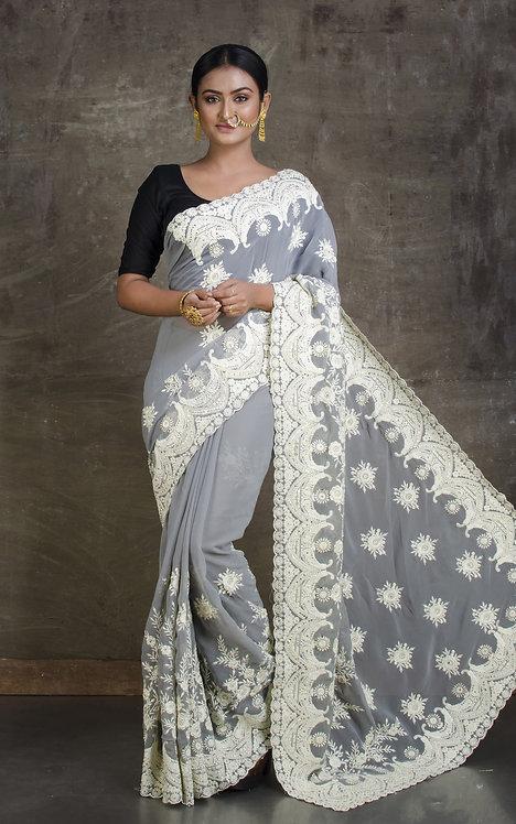 Lucknow Chikankari Designer Saree in Gray and White
