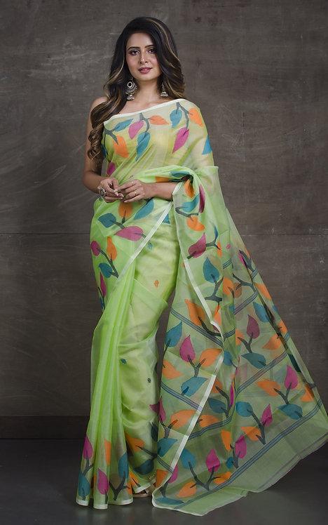 Muslin Jamdani Saree in Sea Green and Multi-Color
