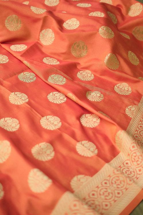Banarasi Silk Dupatta in Orange and Gold
