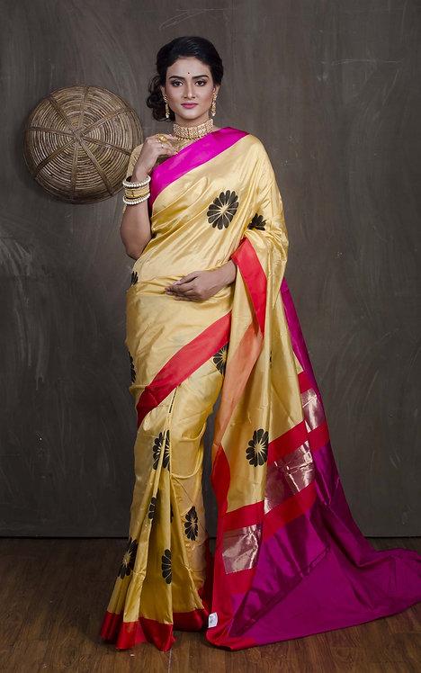 Designer Pure Banarasi Silk Saree in Butter Yellow, Black, Rani and Red