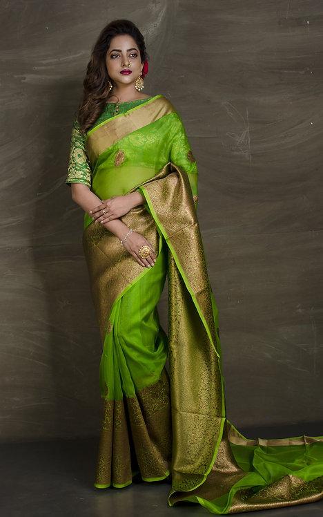 Skirt  Border Pure Kora Banarasi Saree in Parrot Green and Gold
