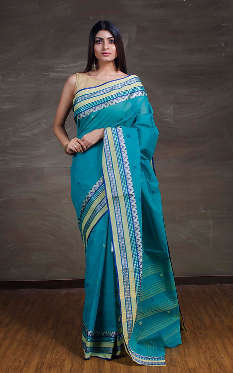 Bengal Handloom Cotton Saree in Rama Green