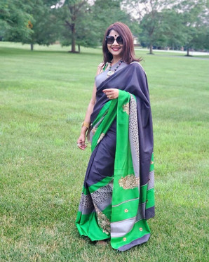 Bengal Looms Client Diaries - Sumita di looking fabulous and absolutely dazzling in her Embroidery Cotton Kota Saree from Bengal Looms.