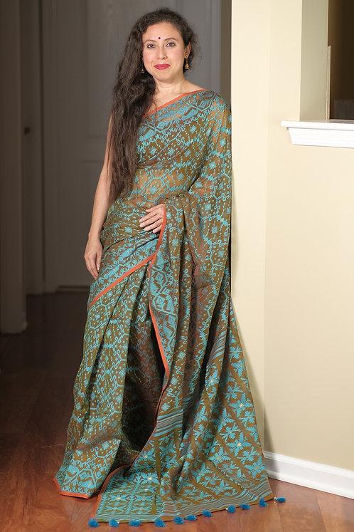 Soft Jamdani Saree in Hena Green and Blue