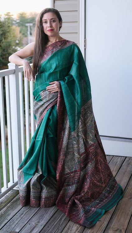 Madhubani Print Gicha Tussar Silk Saree in Emerald Green