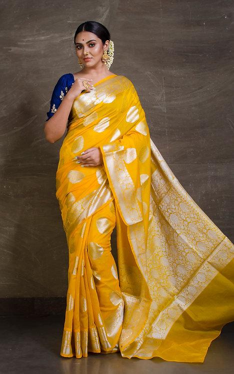 Semi Georgette Banarasi Saree in Yellow and Silver