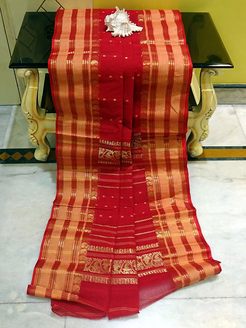 Bengal Handloom Cotton Saree with Starch in Vermilion Red, Beige and Gold