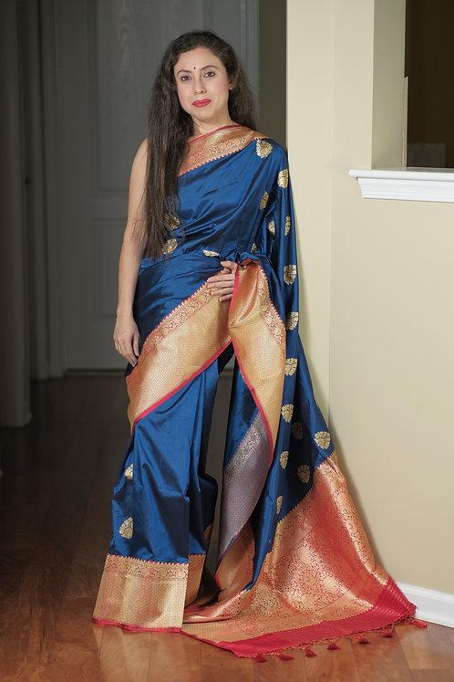 Pure Banarasi Katan Silk Saree in German Blue and Red
