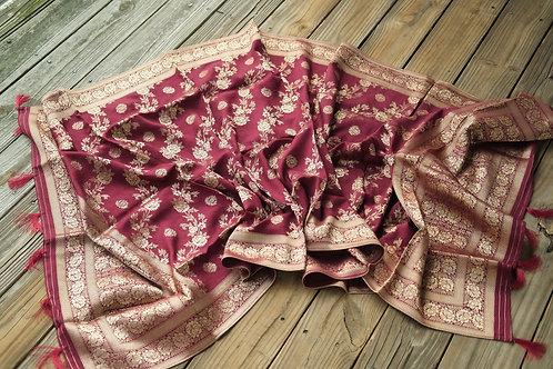 Banarasi Soft Silk Dupatta with Antique Zari in Dark Red
