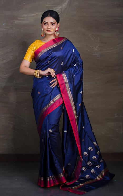 Pure Banarasi Silk Saree in Midnight Blue and Pink