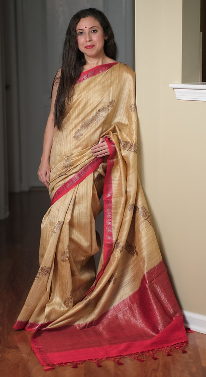 Pure Dupion Tussar Banarasi Saree in Beige and Red