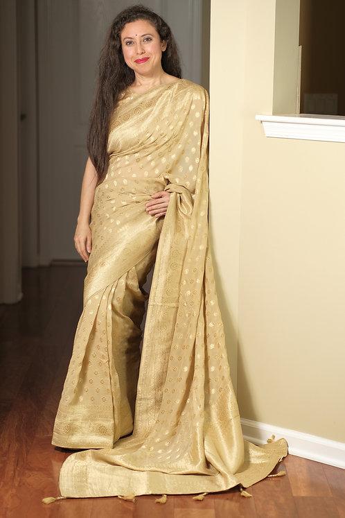 Pure Crepe Georgette Banarasi Saree in Beige, Silver and Gold