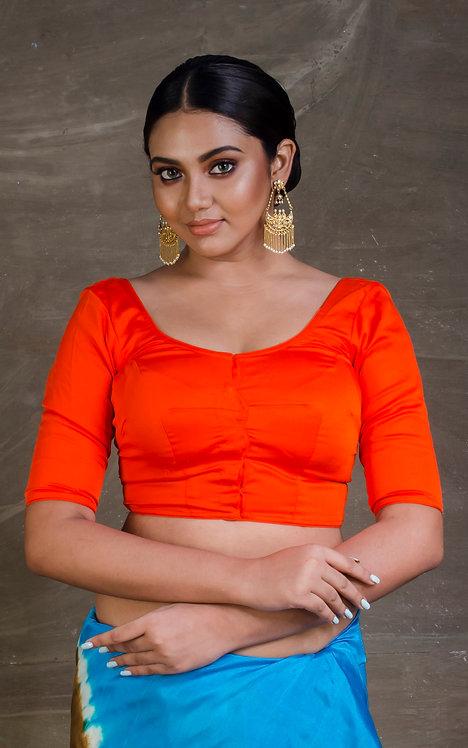 Orange Designer Saree Blouse in Size 38