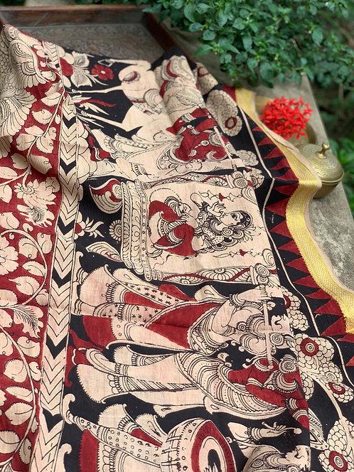 Hand Painted Kalamkari Dupatta in Black and Brick Red
