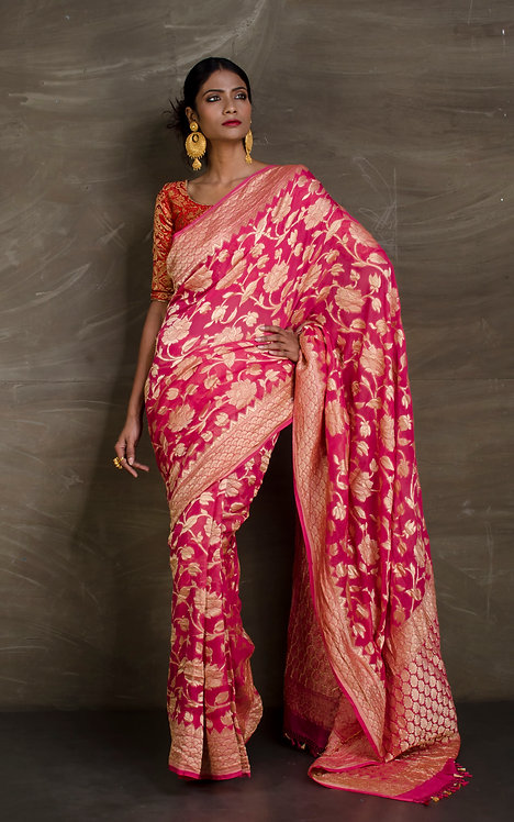 Pure Georgette Banarasi Jaal Work Saree in Rose Pink and Gold