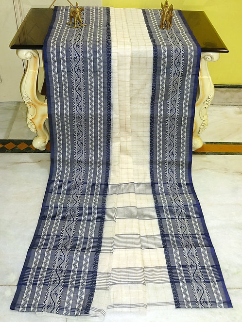 Bengal Handloom Cotton Saree with Light Starch in Off White and Black