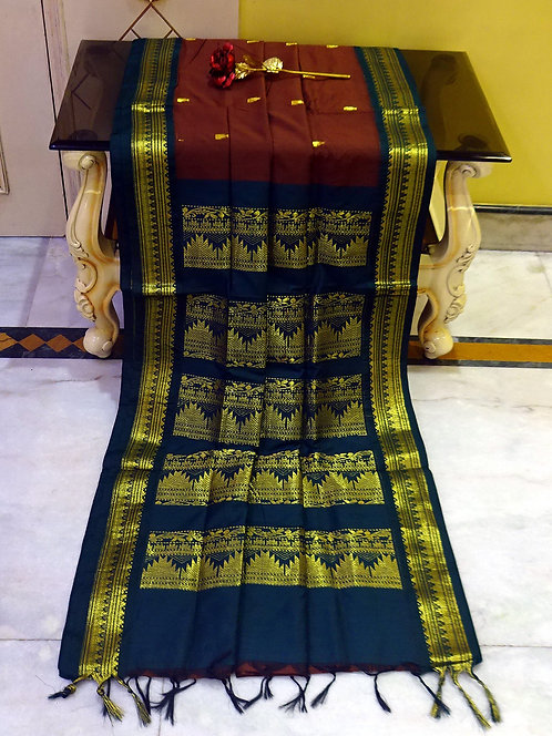 Soft South Cotton Gadwal Saree in Brown and Dark Blue