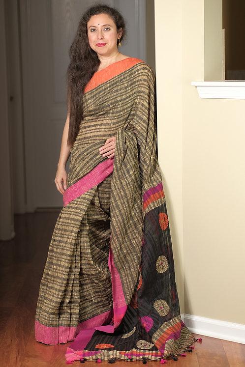 Hand Woven Ketiya Jute Cotton Saree in Brown, Pink and Orange