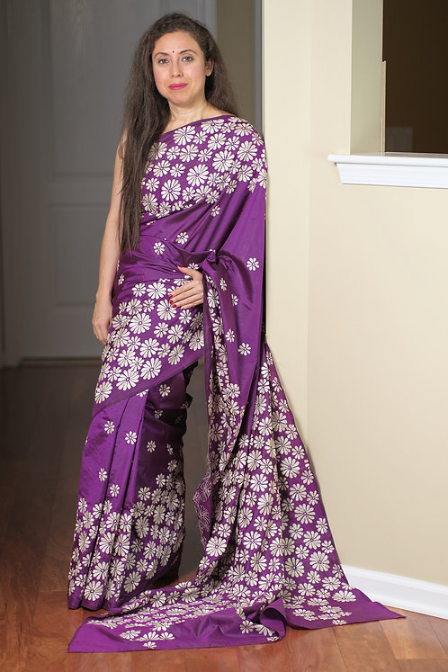 Hand Embroidered Kantha Stitched Pure Silk Saree in Purple and White