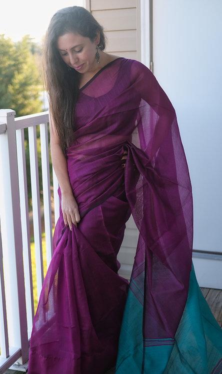 Soft Cotton Saree in Purple and Rama Green