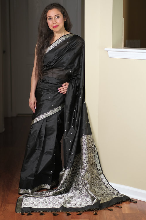 Pure Banarasi Katan Silk Saree in Black and Silver