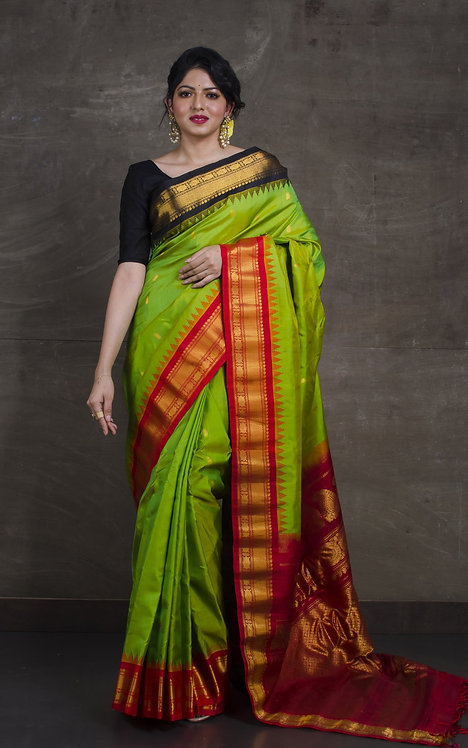 Gadwal Silk Saree with Ganga Jamuna Border in Bright Green, Black and Red