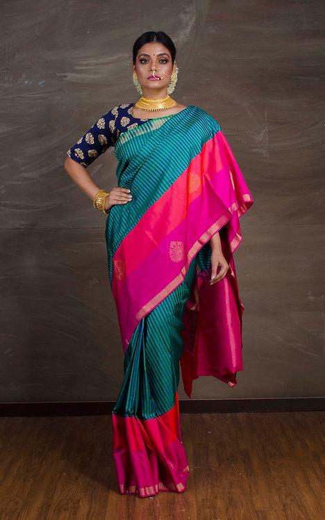 Checks Kanjivaram Saree in Blue, Green and Magenta