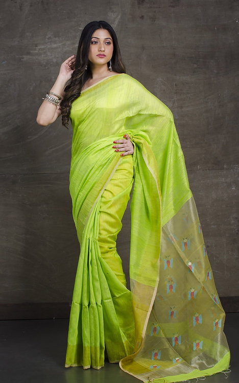 Pure Matka Tussar Jamdani Saree in Bright Green and Yellow