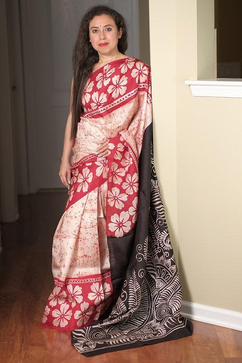 Hand Batik Bishnupur Pure Silk Saree in Cream, Red and Black